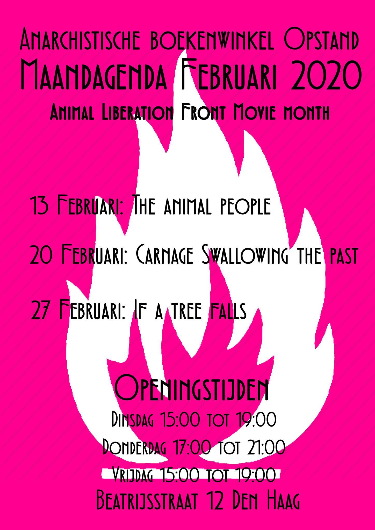 De Maandagenda van Februari 2020. Een pink beel met eein witte vuur symbol als achtergrond, daarop de datum van de evenets welke zullen plaatsvinden