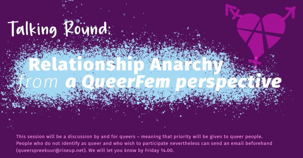 a purple header. in the middle are light blue freckles as a background for a text saying: relationship anachy from a queerfem perspectove. below is a short disclaimer in lgiht pink about cis-hets participation only with limited access. on the right upper corner there is an relationshipanarchysymbold that is queered. (it is a heart with an A in it, and there are the arrows of the transfeminismsymbol on it)